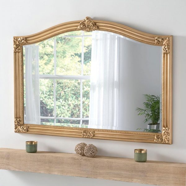 ART255 Overmantel Mirror in Gold