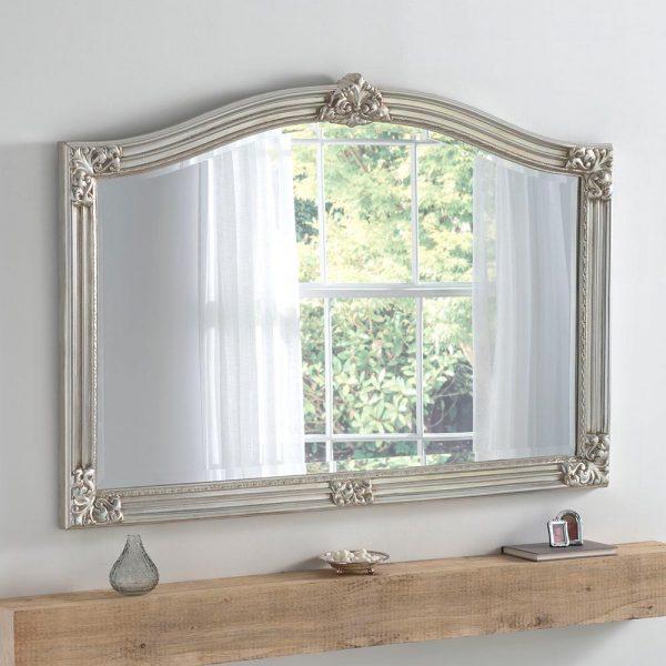 ART255 Overmantel Mirror in SILVER