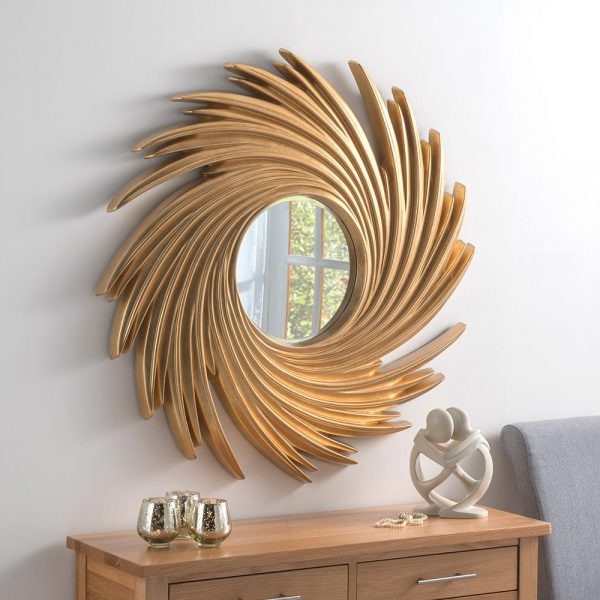 ART295 Contemporary Swirl mirror in Gold