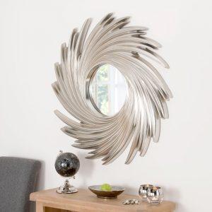 ART295 Contemporary Swirl mirror in Silver