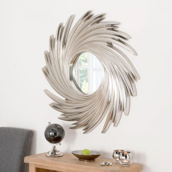 ART295 Contemporary Swirl mirror in Silver