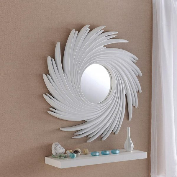 ART295 Contemporary Swirl mirror in White