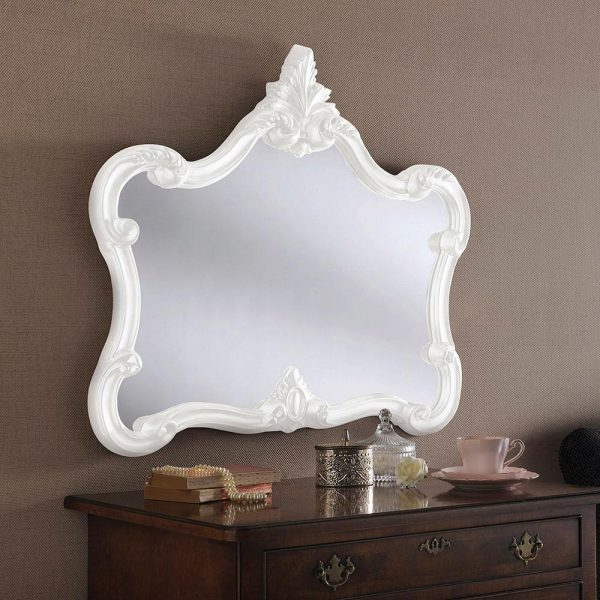 ART31L Ornate Mirror in WHITE