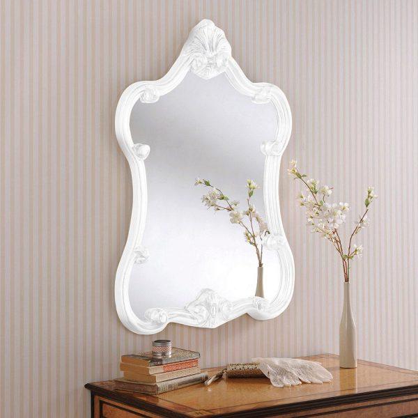 ART31P Ornate Mirror in White Portrait