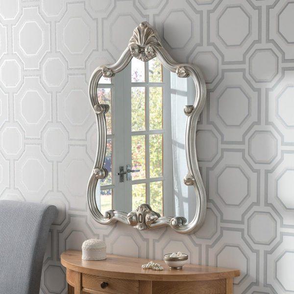 ART31P Ornate Mirror in Silver Portrait