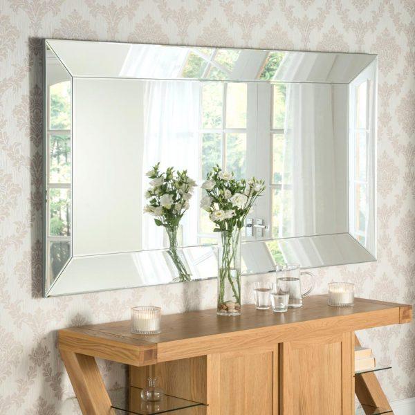 ART58 Art Deco Silver Mirror 72x42