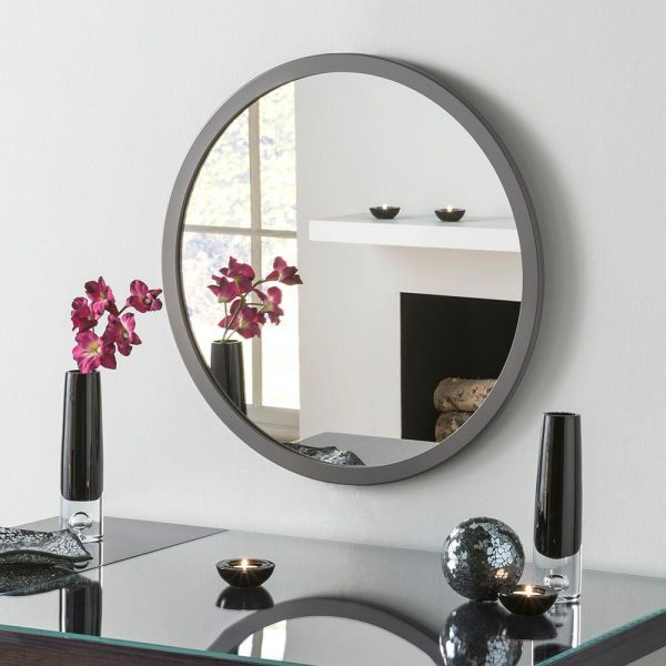 Classic Circle Mirror in Dark Grey