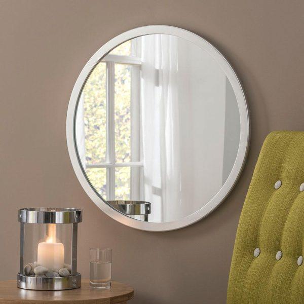 Classic Circle Mirror in Silver Leaf