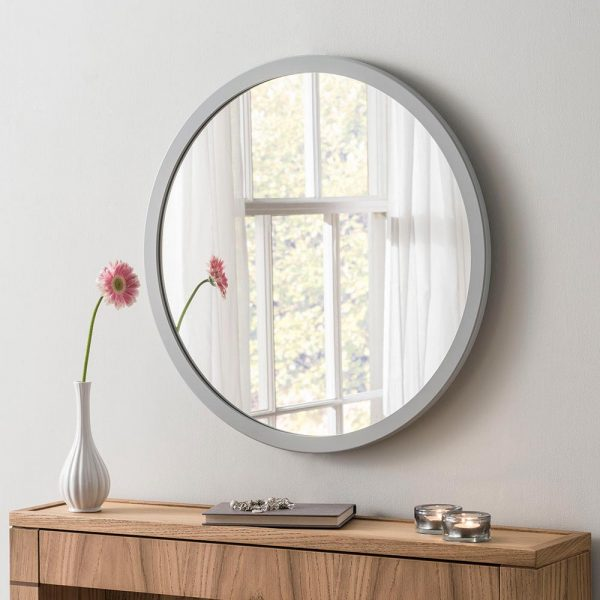 Classic Circle Mirror in Light Grey