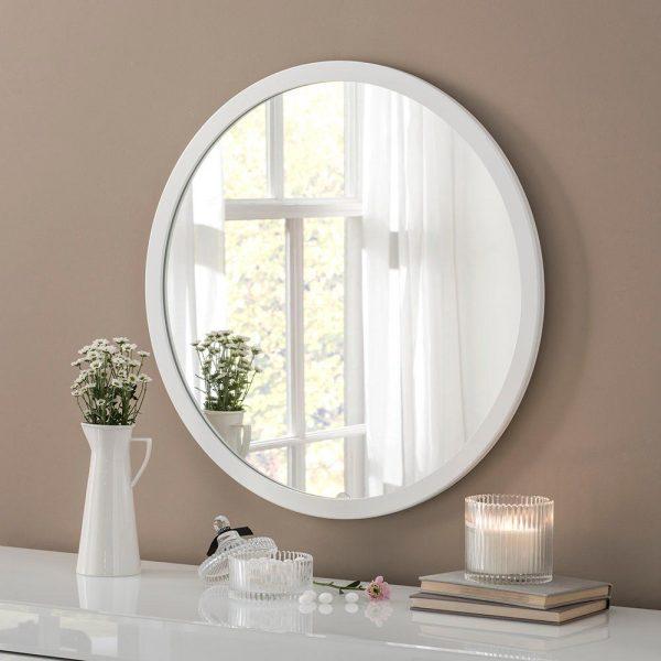 Classic Circle Mirror in White
