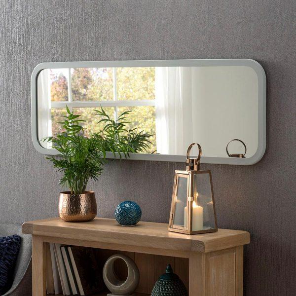 Classic Oblong Mirror in Light Grey