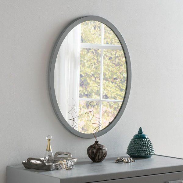 Classic Oval Mirror in Dark Grey