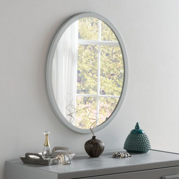 Classic Oval Mirror in Light Grey