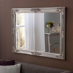FLORENCE Baroque Rectangle Mirror in Silver