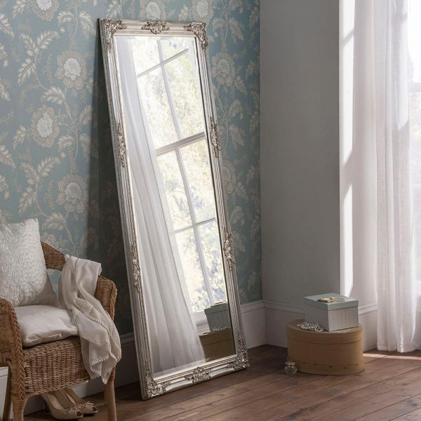 FLORENCE Baroque Leaner Mirror in Silver