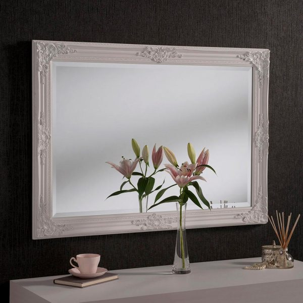 FLORENCE Baroque Rectangle Mirror in White