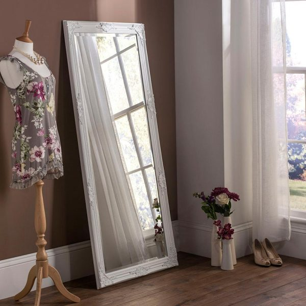 FLORENCE Baroque Leaner Mirror in White
