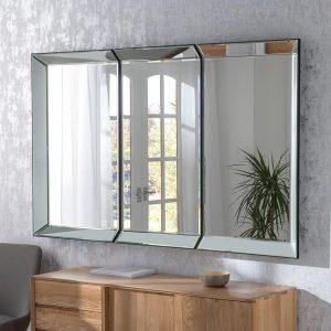 Geneva 3 panel silver mirror