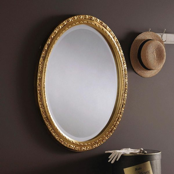 M15 Ornate Oval Mirror in GOLD