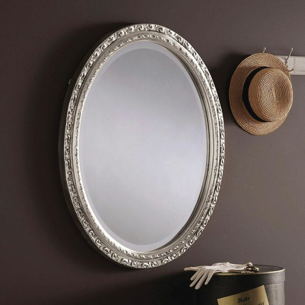 M15 Ornate Oval Mirror in Silver
