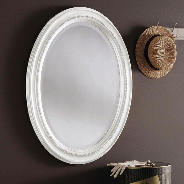 M319 Ornate Mirror in White