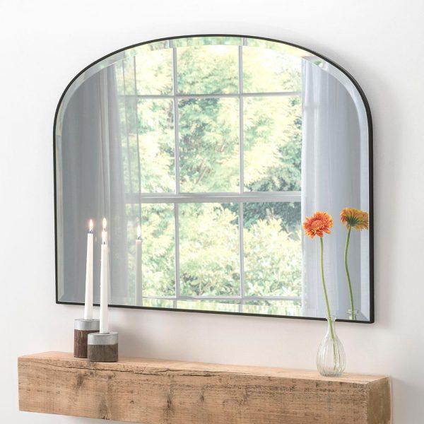Simplicity overmantel classic mirror in Black