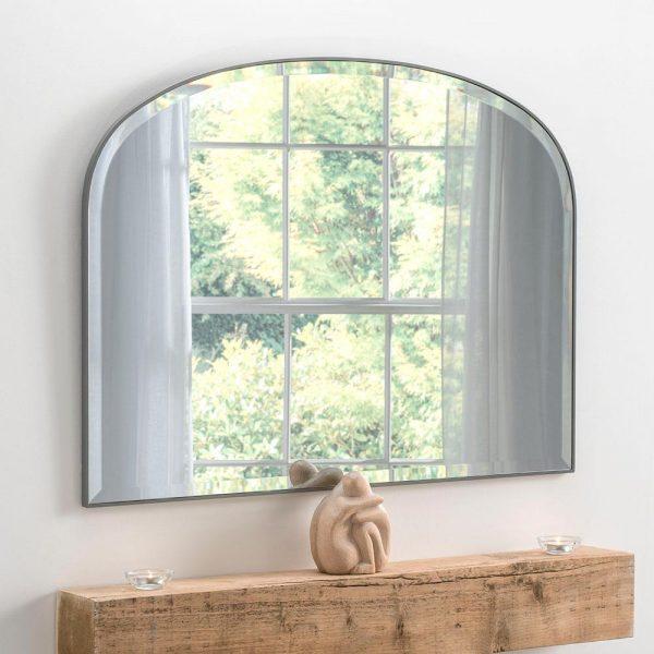 Simplicity overmantel classic mirror in Dark Grey