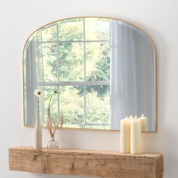 Simplicity overmantel classic mirror in Gold