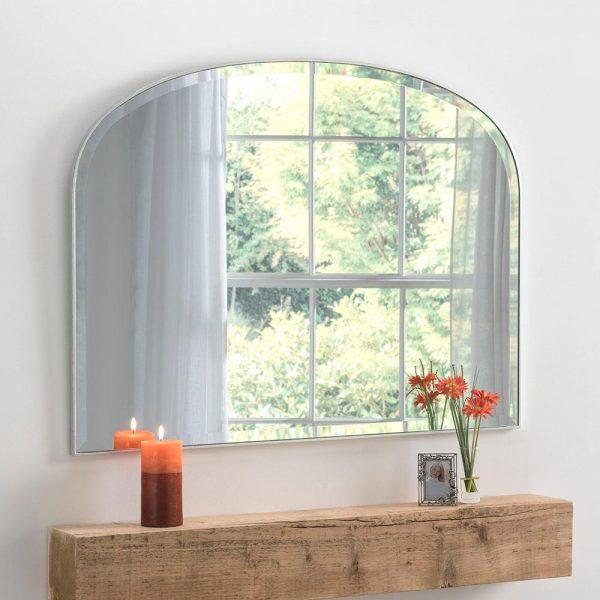 Simplicity overmantel classic mirror in Silver
