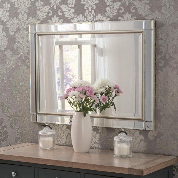 Venetian contemporary mirror in Silver