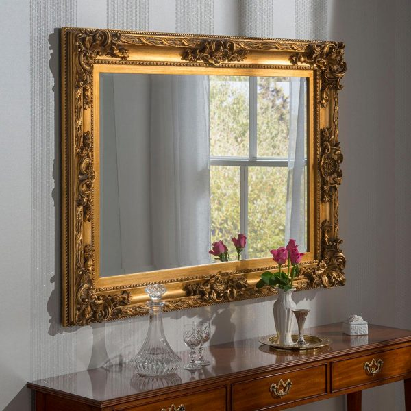 YG137 Baroque rectangle mirror in Gold