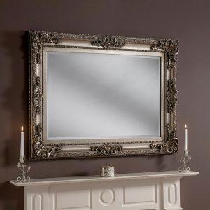 YG137 Baroque rectangle mirror in Silver