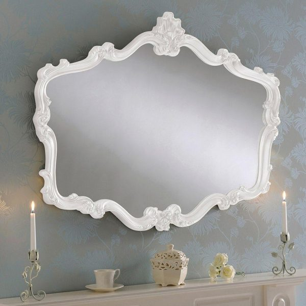 YG206 Regency Style Ornate Mirror White