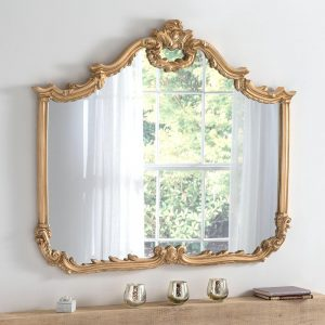 YG209 ornate overmantel mirror in Gold