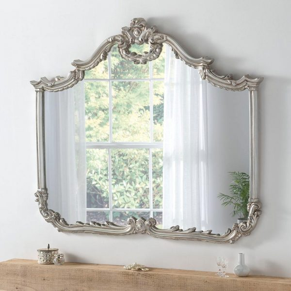 YG209 ornate overmantel mirror in SILVER