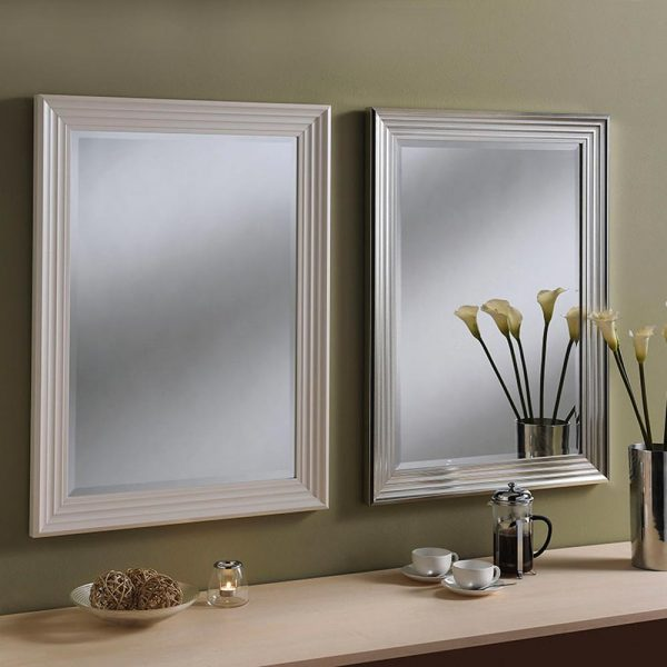 YG219 Rectangle Mirror in WHITE and SILVER