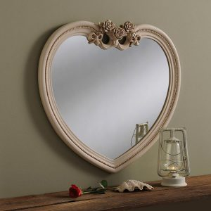 YG285 Ornate Heart Mirror in Ivory