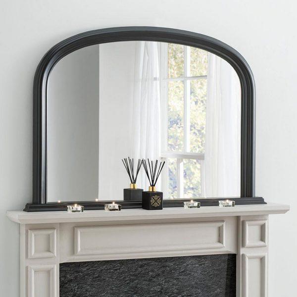 YG310 overmantel mirror in Black