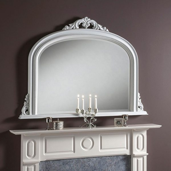 YG313 Overmantel Mirror in White