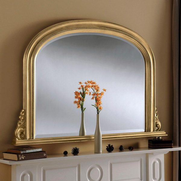YG314 Overmantel Bevelled Mirror in Gold