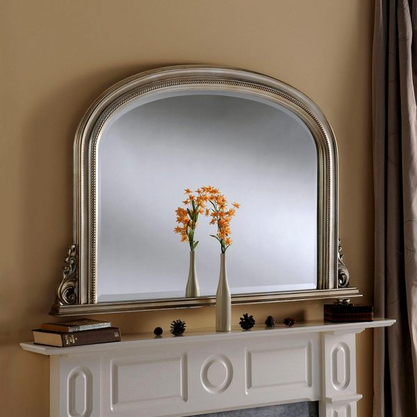 YG314 Overmantel Bevelled Mirror in Silver