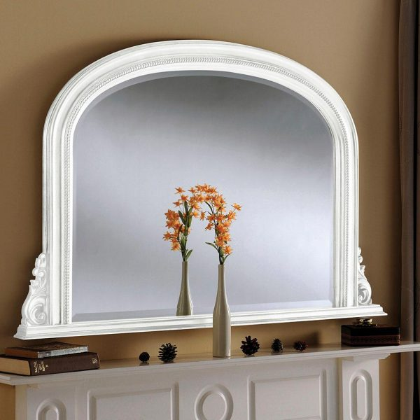 YG314 Overmantel Bevelled Mirror in White